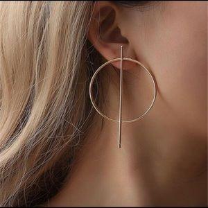Geometric hoop gold earrings